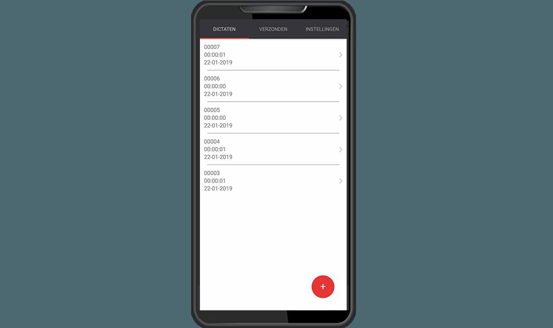 Dictafoon app dictaten scherm RedSpeak