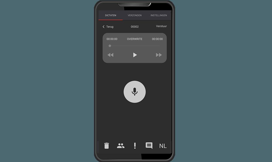 Dictafoon app hoofdscherm RedSpeak