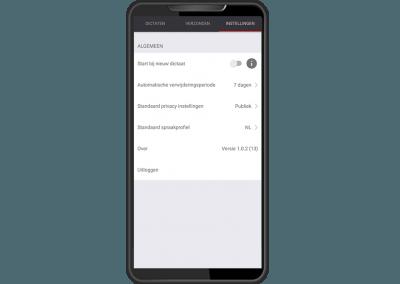 Dictafoon app instellingen scherm RedSpeak