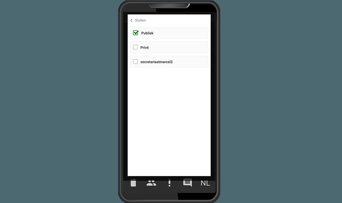 Dictafoon app scherm dictaten delen RedSpeak